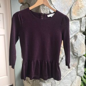 LOFT dark purple peplum sweater